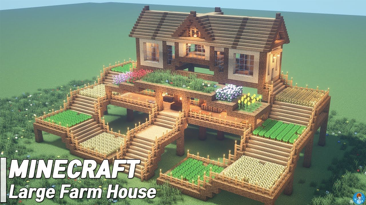 Minecraft Large Farm House Tutorial l how to build (33