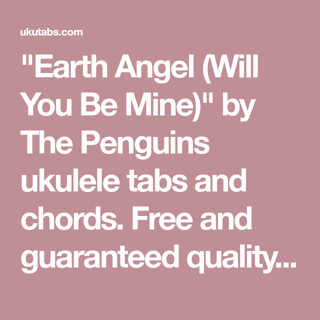 Earth Angel (Will You Be Mine)\