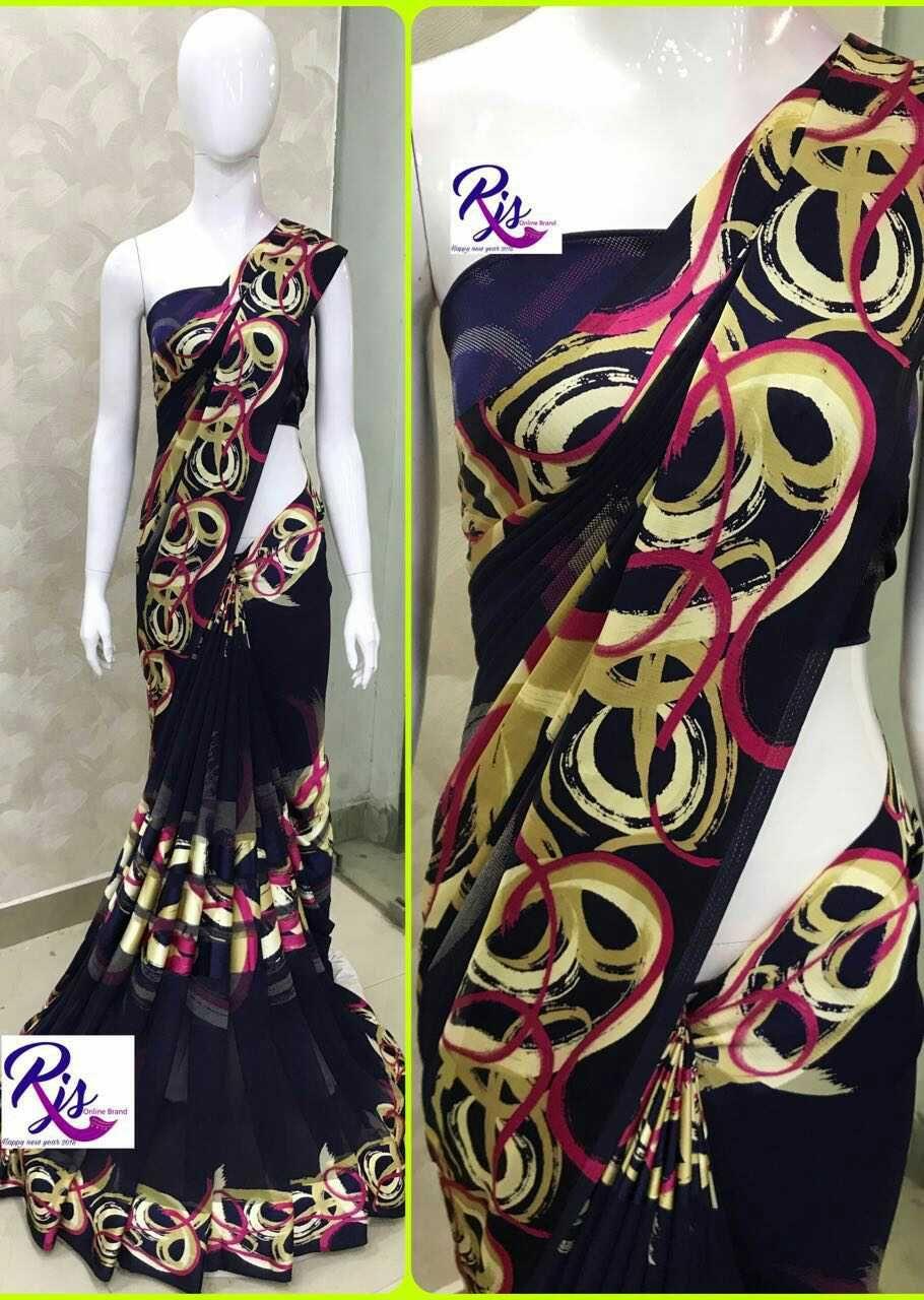 Saree blouse design for chiffon saree georjet with satin  saree u blouse design  pinterest  saree