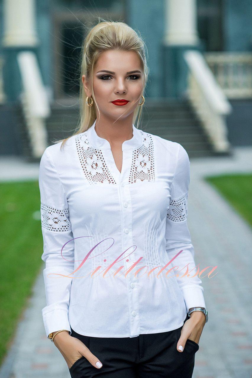 d9eee6a64561f94 Купить Рубашка с кружевными вставками белая. блузки и туники женские от