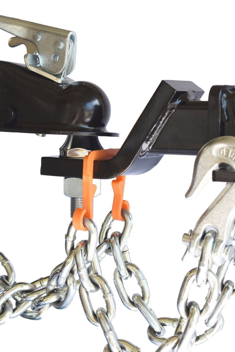 Keep safety chains up off the road while towing fits
