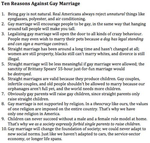 Arguments agaisnt gay marriage