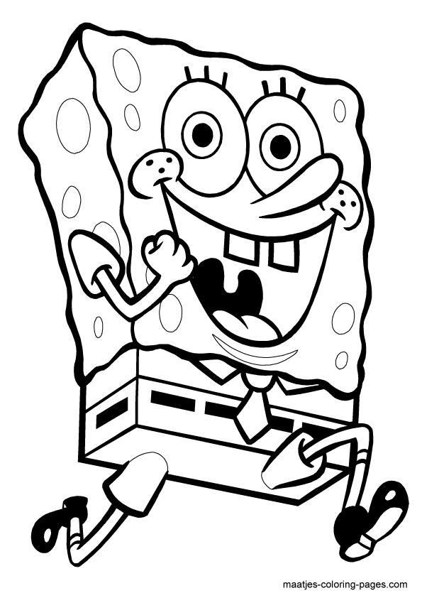 Running SpongeBob SquarePants coloring page | Spongebob coloring ...