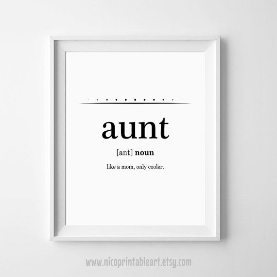 Aunt Gift Best Ever Definition Print Auntie Gifts Is