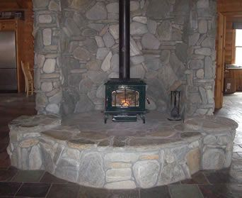 Oversized Stone Surround For Wood Stove Might Use Some Ideas