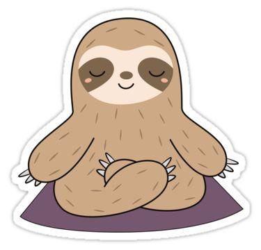 'Kawaii Cute Yoga Meditating Sloth ' Sticker by wordsberry