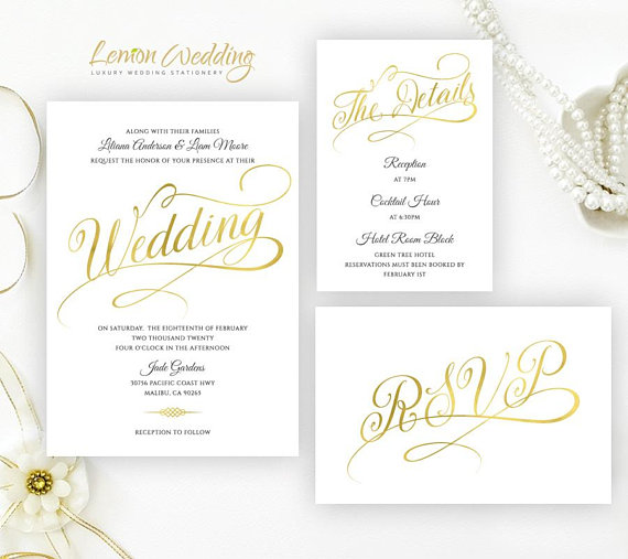 Gold Wedding Invitation Sets Printed On Luxury Shimmer Card Stock Calligraphy C