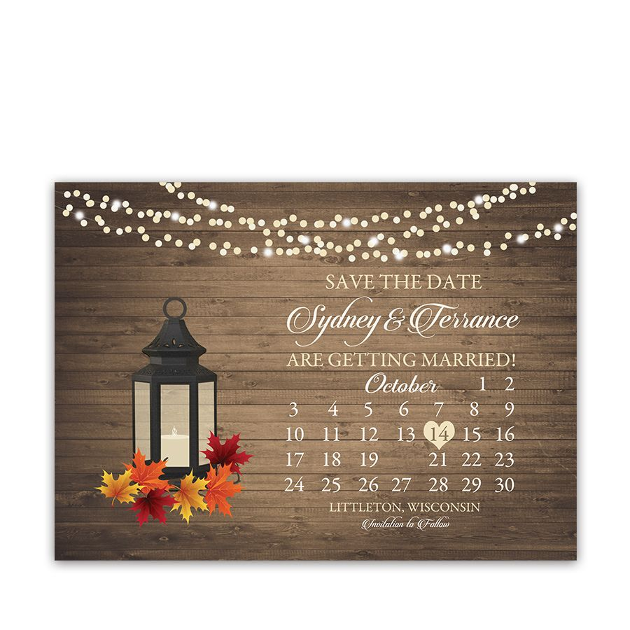 Rustic Fall Wedding Save The Date Calendar Style Wedding Weddings