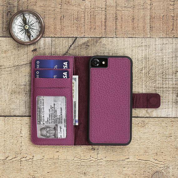 sale retailer 1080c 8d093 Genuine Leather iPhone 7 / 8 / Plus Detachable Magnetic Wallet Case ...