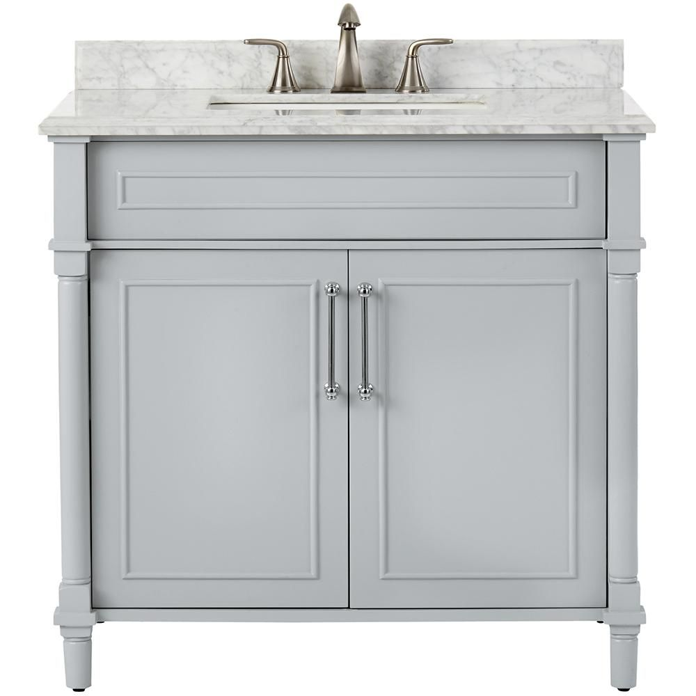 Photography Gallery Sites Home Decorators Collection Aberdeen in W x in D Single Vanity in Dove Grey with Natural Marble Vanity Top in White with White Basin