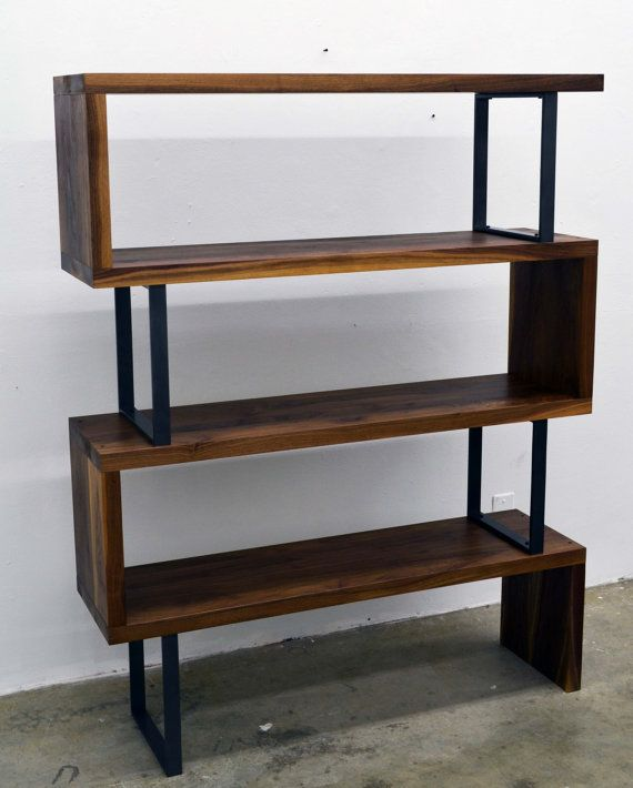 Modern Walnut wood and steel ribbon bookshelf by