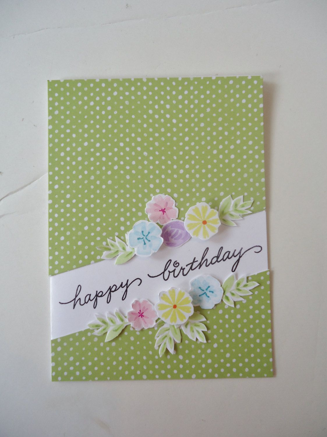 Beautiful Floral Birthday Card Handmade Greeting Card Happy
