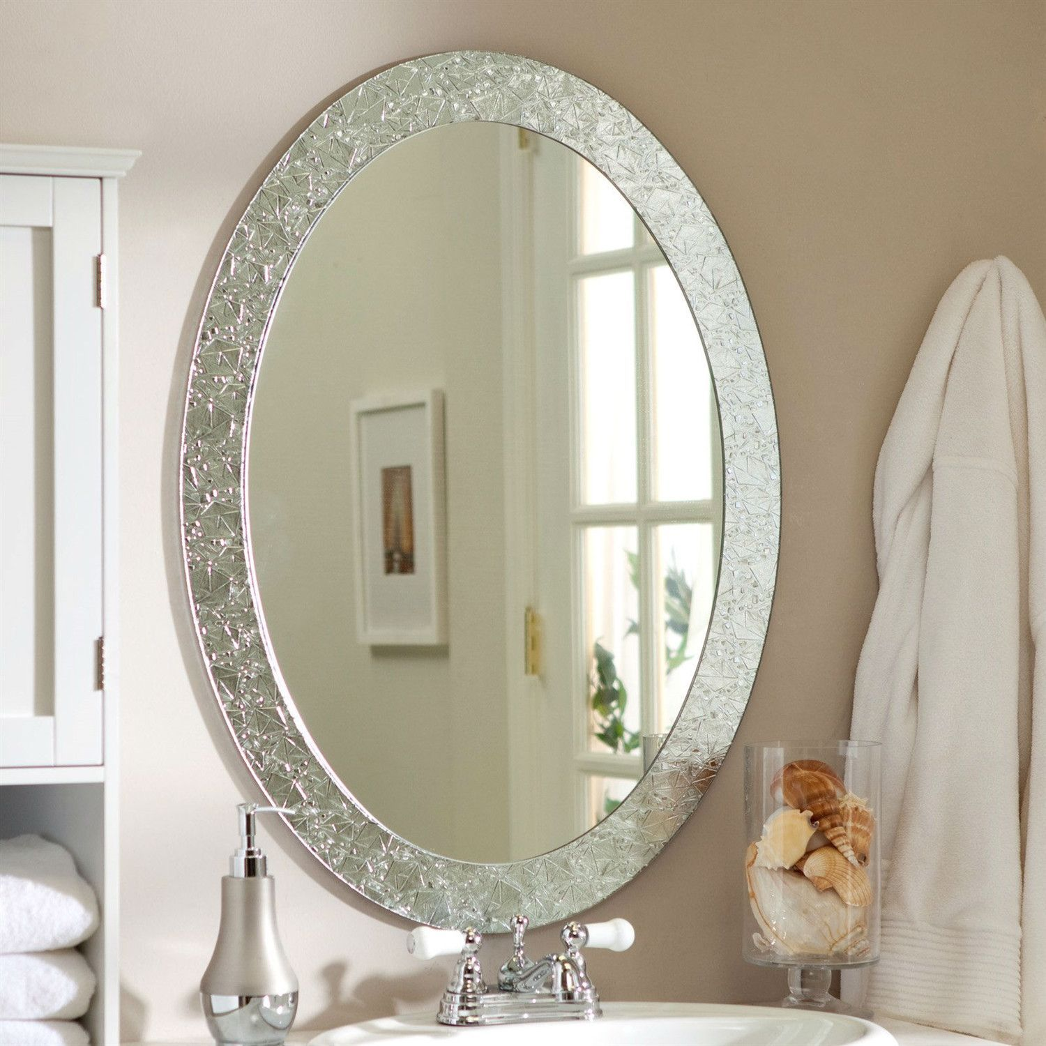 Oval Frame Less Bathroom Vanity Wall Mirror With Elegant Crystal Border Oval Frame And
