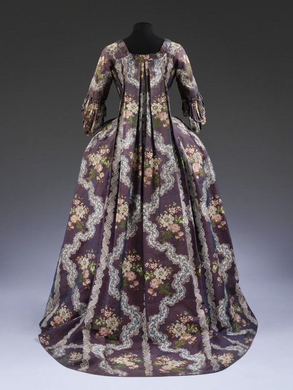 Sack back gown and petticoat (Robe à la francaise), purple silk, brocaded with flowers and lace, French, 1765-1770