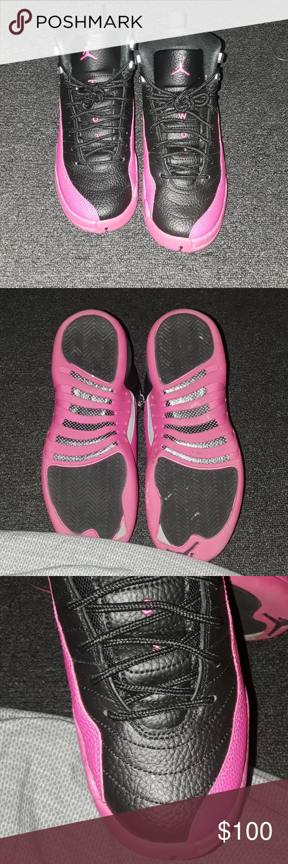Jordan 12s They are black and pink worn 7 times 6 1/2 but fits up to a size 7 Jordan Shoes Sneakers