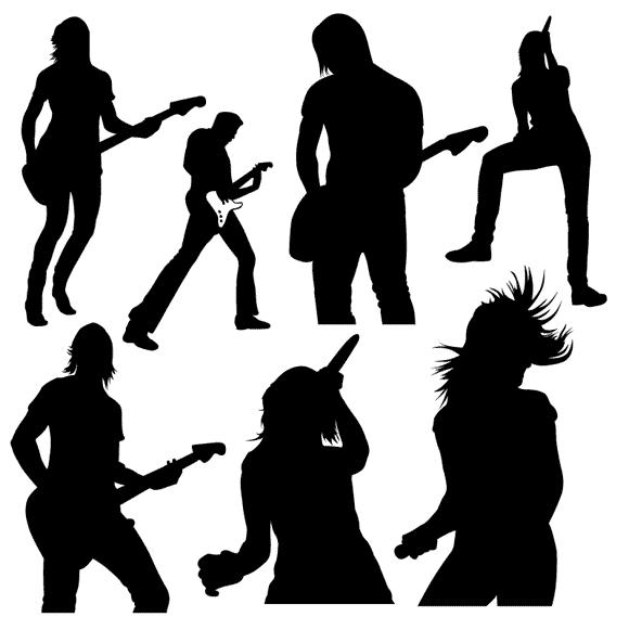 Download girl Rock Band Clip Art | Free Vector Set of Band, Live ...