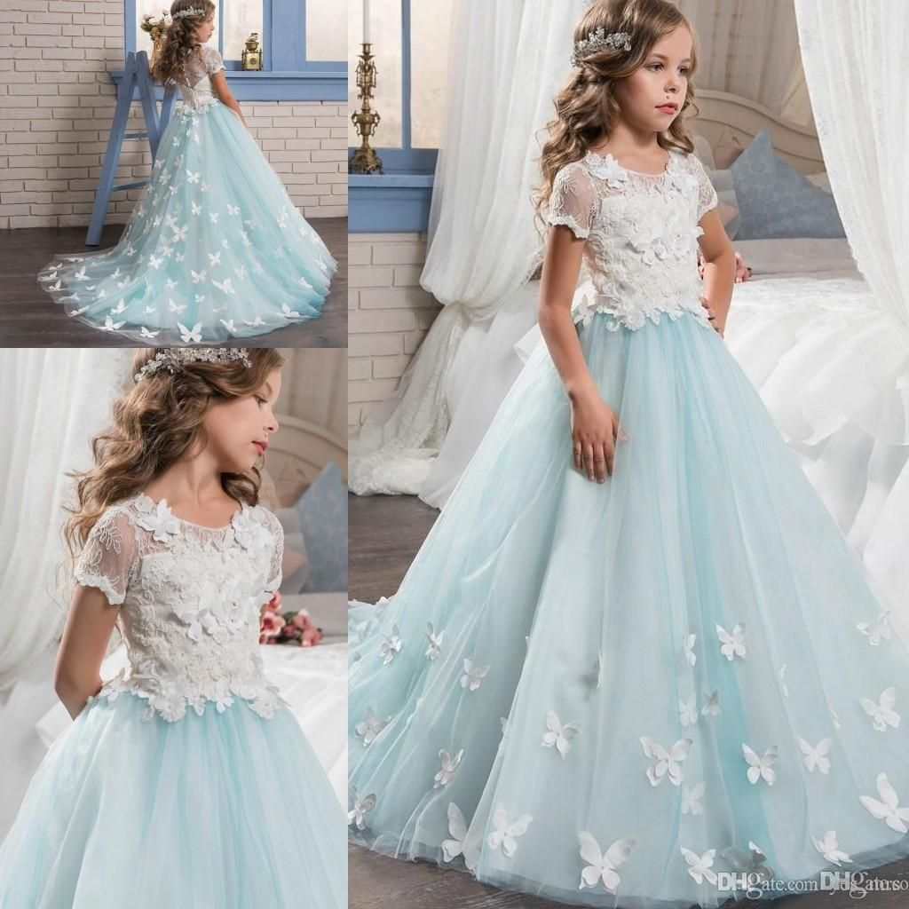 2017 New Flower Girls Dresses For Weddings Lace Appliques Short ...