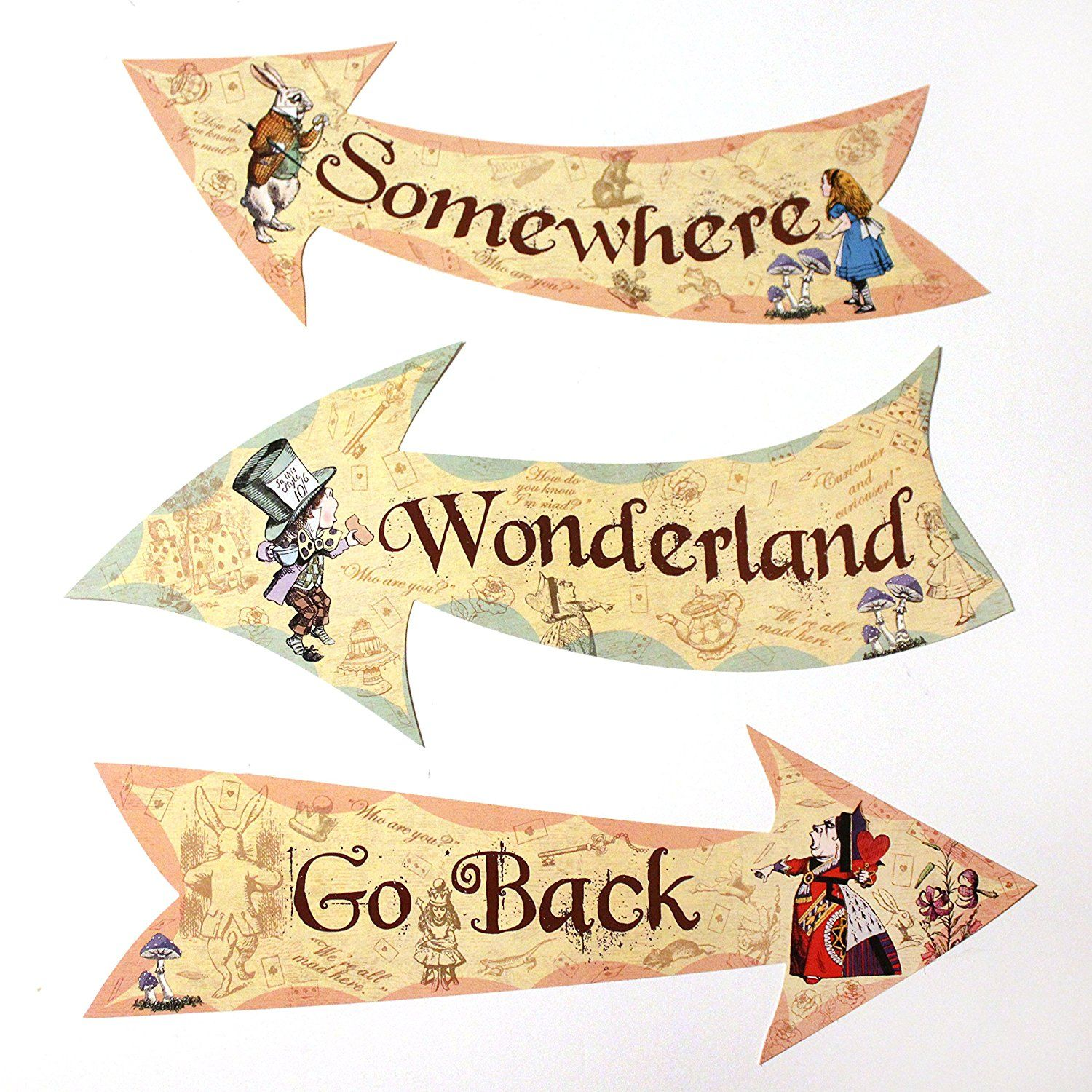 Alice In Wonderland Party Vintage Style Arrow Signs X2f Alice In Wonderland Illustrations Alice In Wonderland Tea Party Birthday Alice And Wonderland Quotes