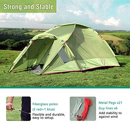 Amazon.com  MoKo Waterproof Family C&ing Tent Portable 3 Person Outdoor Instant Cabin Tent 4-Season Double Layer Dome Tent Sun Shelter for Hiking ... & Amazon.com : MoKo Waterproof Family Camping Tent Portable 3 ...