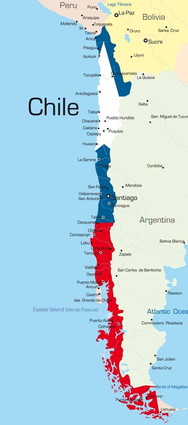 Chile map for Mapa de santiago de chile