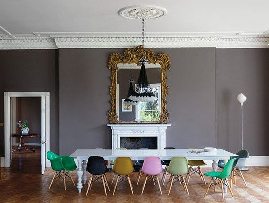 Farm Table Eames Chairs Grey Dining Room Paint Dining Room