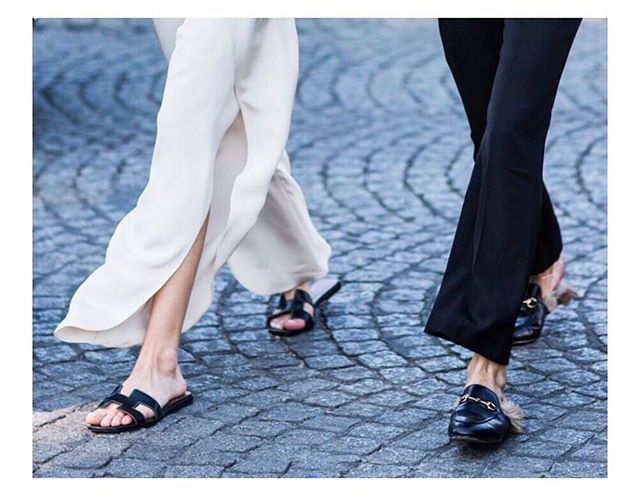 a5366f9d8f4 Street style in paris. Hermes sandals   Gucci fur loafers