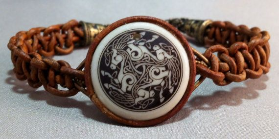 Celtic Horse Design ceramic Focal on Natural by GryphonDesigns, $32.00