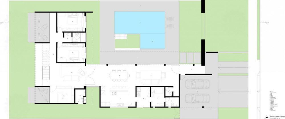 Planos casa moderna dos pisos forma l planos de for Casa moderna l