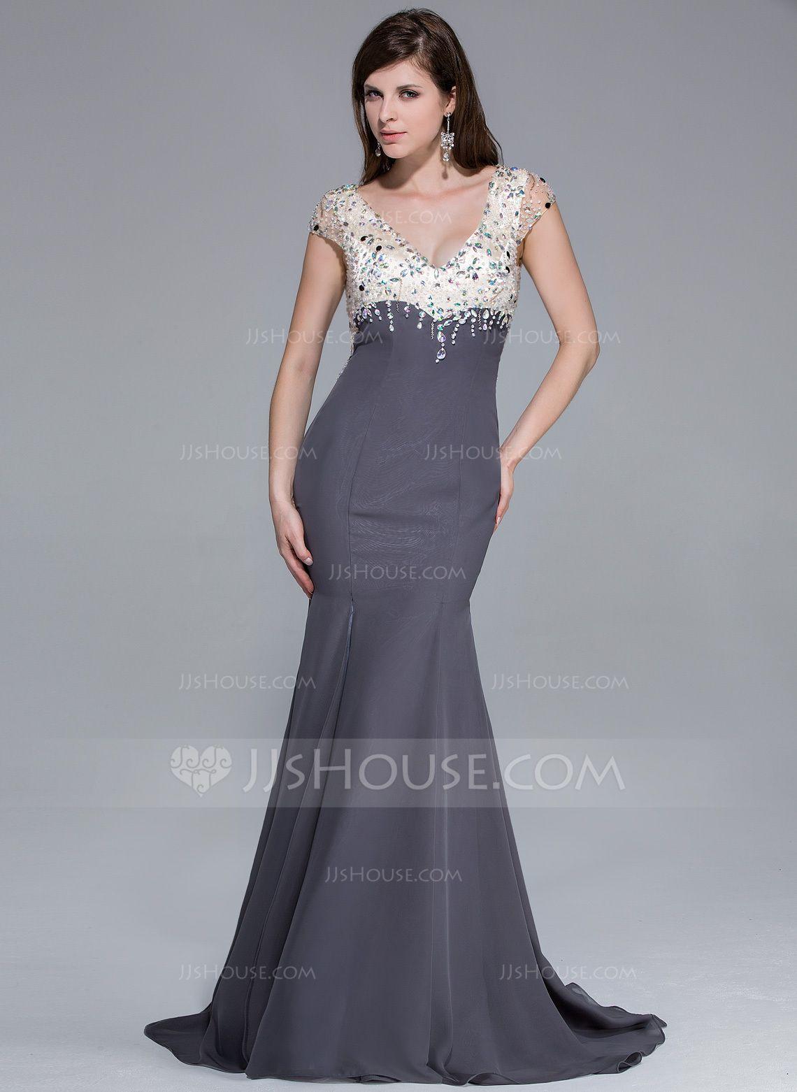 Trumpetmermaid vneck sweep train chiffon charmeuse prom dresses