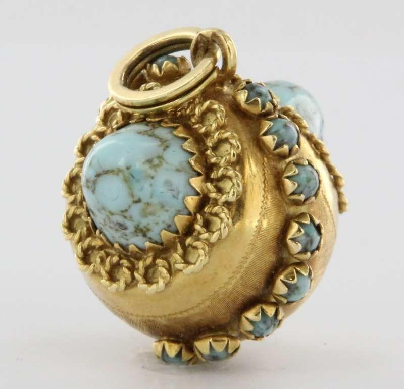 Antique Deco Turquoise Gold Charm Fob Cocktail Pendant Vintage