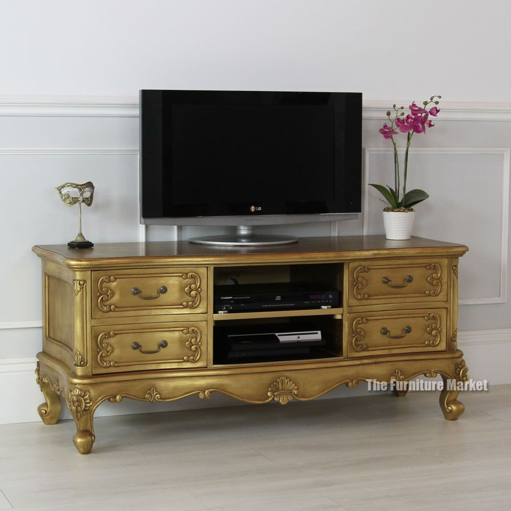 French Gold Leaf Widescreen Tv Unit Furniture Pinterest Tv  # Meuble Tv Angelina