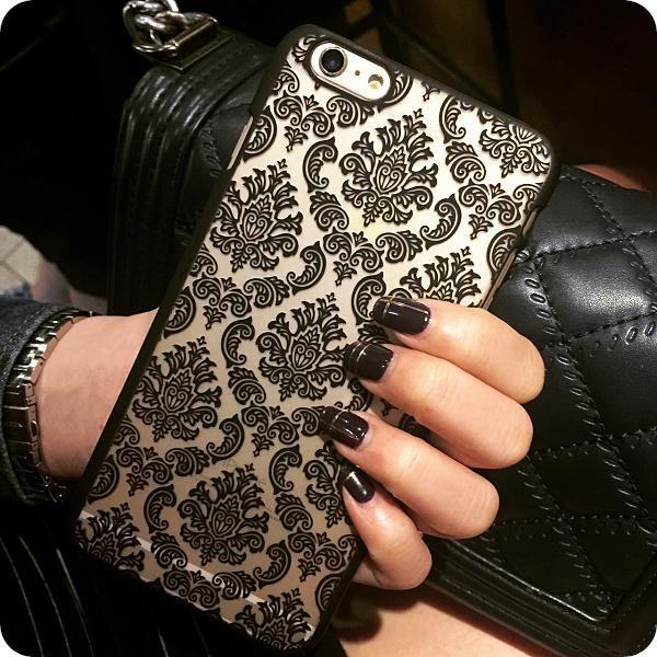 Hot New Luxury Custodia In Plastica Dura Per il iphone 7 6 6 S 6 più 6 s Più Damasco Dell'annata del Fiore Modello Case Cover Per iPhone 7 più