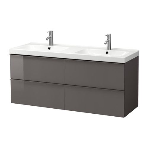 ikea godmorgon odensvik meuble lavabo 4tir brillant gris 140x49x64 cm garantie 10 ans. Black Bedroom Furniture Sets. Home Design Ideas