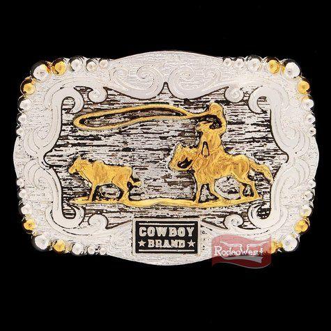Fivela Laço Comprido Fundo c/ Detalhe Envelhecido - Cowboy Brand