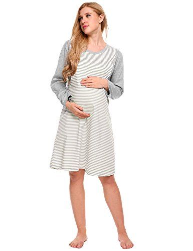 4abe837975 Etuoji Women Soft Maternity Nightgown Nursing Dress Long Sleeve Striped  Lounge Sleepwear   Be sure to check out this awesome product.