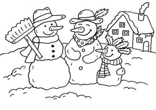 schneemänner: schneemann-familie ausmalen zum ausmalen