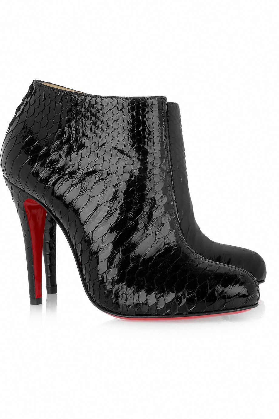 huge discount 30233 192f0 CHRISTIAN LOUBOUTIN Belle 100 glossed-python ankle boots ...