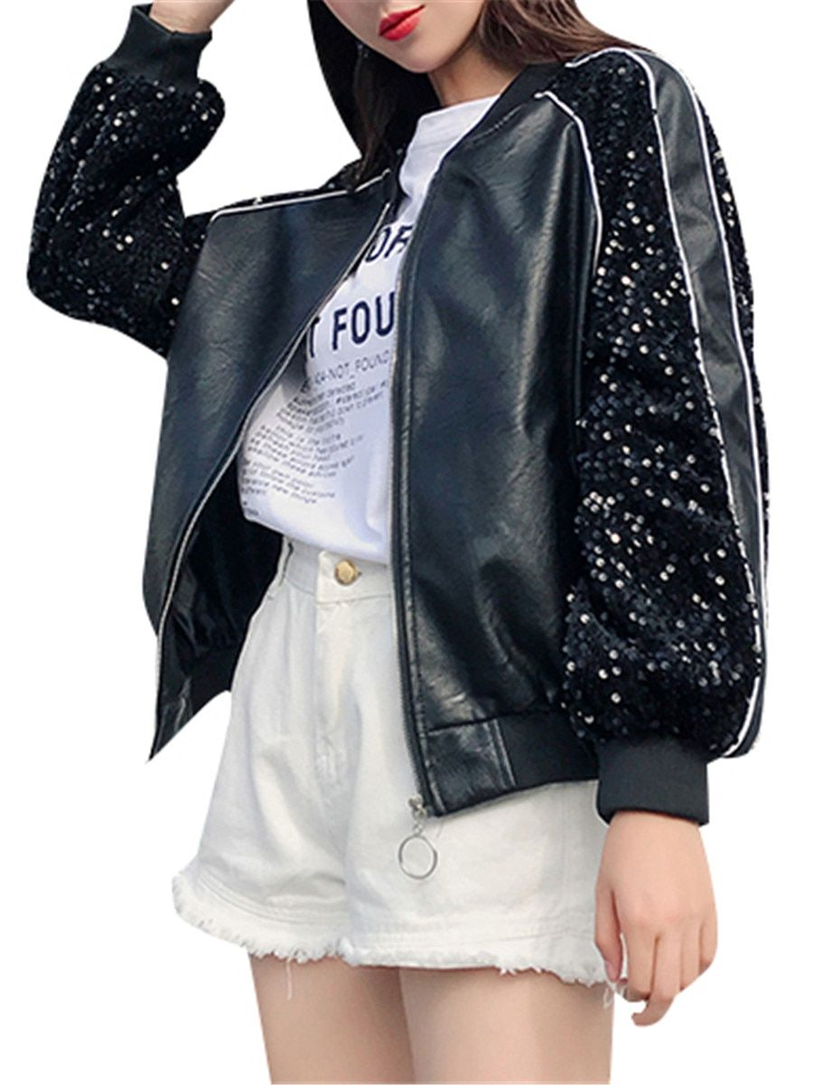 Buy Women S Leather Jacket Long Sleeve Stand Collar Sequined Loose Casual Coat Jackets At Jolly Chi Leather Jackets Women Fashion Clothes Women Casual Coat [ 1200 x 900 Pixel ]