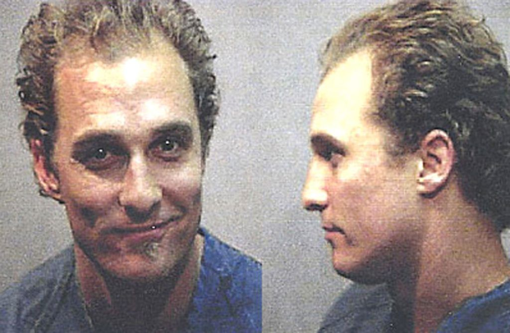 In 1999, the Matthew McConaughey was arrested in Texas (where they don't play) for possession of marijuana and drug paraphernalia.