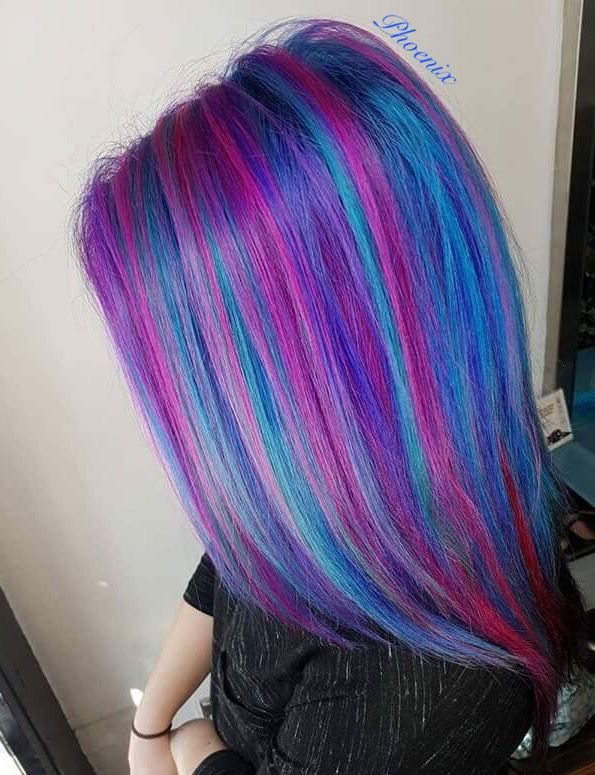 Bright Blue Color Blocking On One Wall And Ceiling: Vivids Bright Hair Crazy Colour Purple Hair Blue Hair Pink