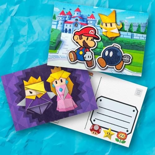 Paper Mario The Origami King Postcard Set Rewards My Nintendo Origami Paper Mario Postcard
