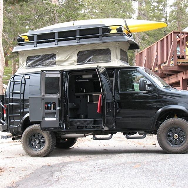 Sportsmobile Loaded With Aluminess Gear Roof Rack Ladder And