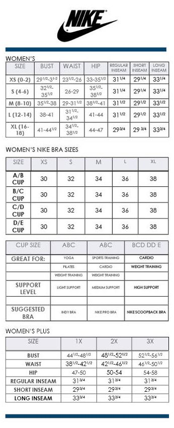 Nike women s regular bra and plus size charts via dillards brand