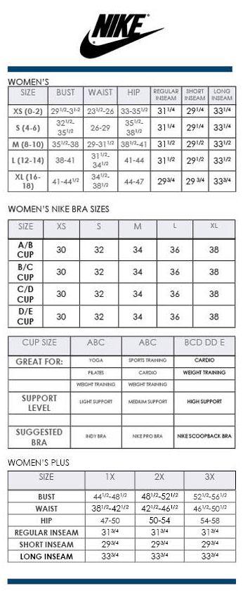 Nike Women's Regular, Bra, and Plus SIze Charts via Dillards ...
