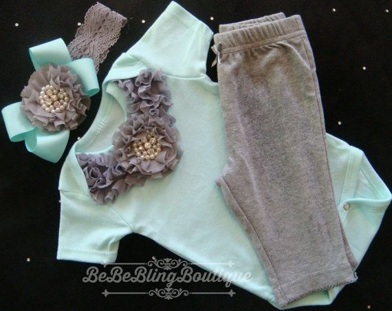 55cea70b5f13 Newborn Baby Girl Take ME Home Outfit - Grey and Mint - Onesie ...