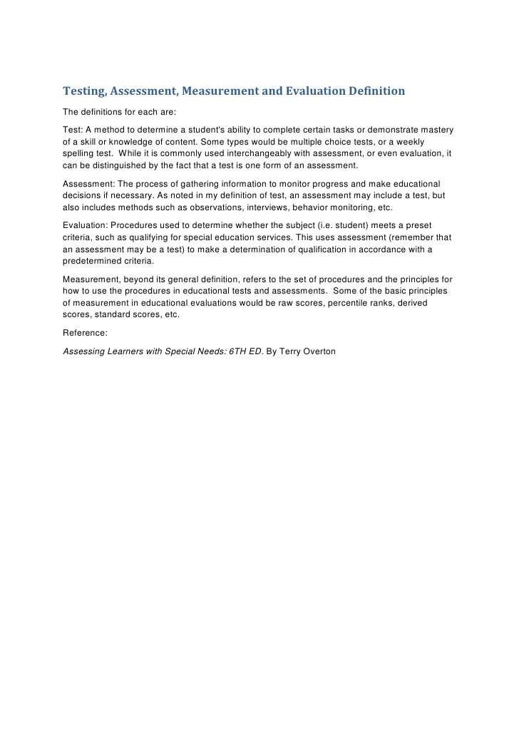 Testing, Assessment, Measurement and Evaluation DefinitionThe - resume definition