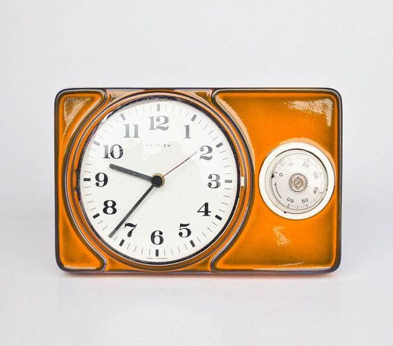 70u0027s Ceramic Wall Clock With Eggtimer / Mid Century Kitchen Clock Timer /  Hettic Germany /