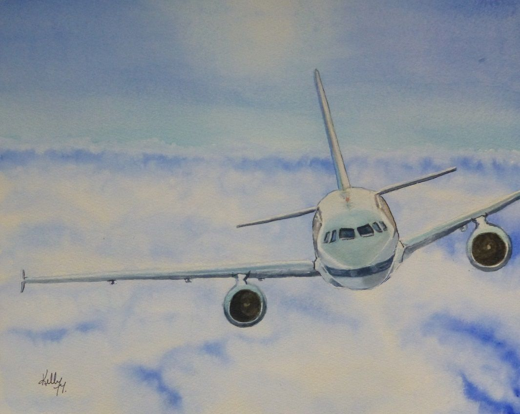 Sky High Plane Painting Painting Art Watercolor Paintings