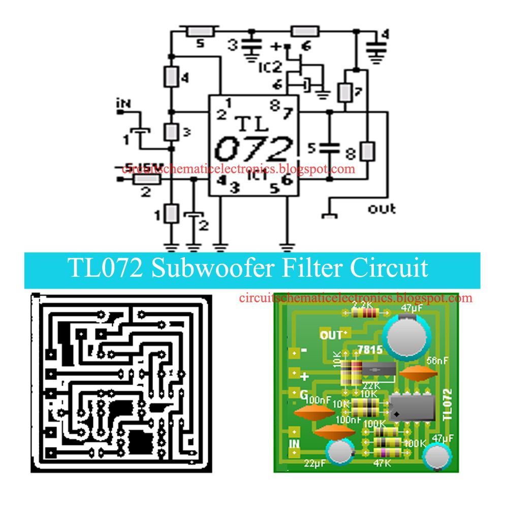 Tl072 Subwoofer Filter Circuit In 2018 Birds Pinterest For A 10k Potentiometer Wiring Diagrams Electronic Diagram Circuits Filters Bass
