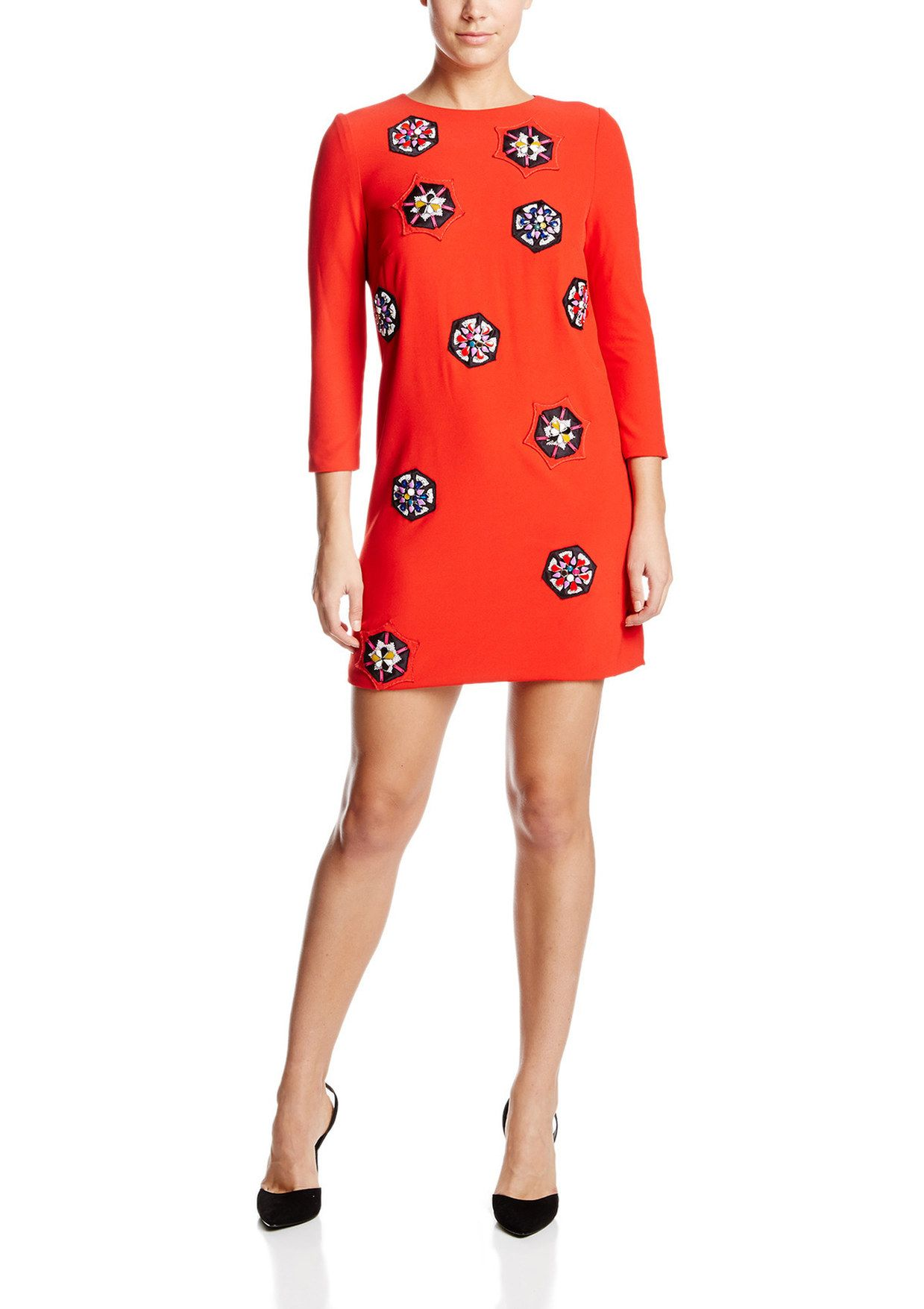 CYNTHIA ROWLEY Georgette Shift Dress with Beaded Appliques | ideel